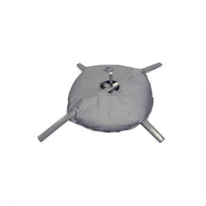 Grey wter ballast bag on metal flag banner X stand