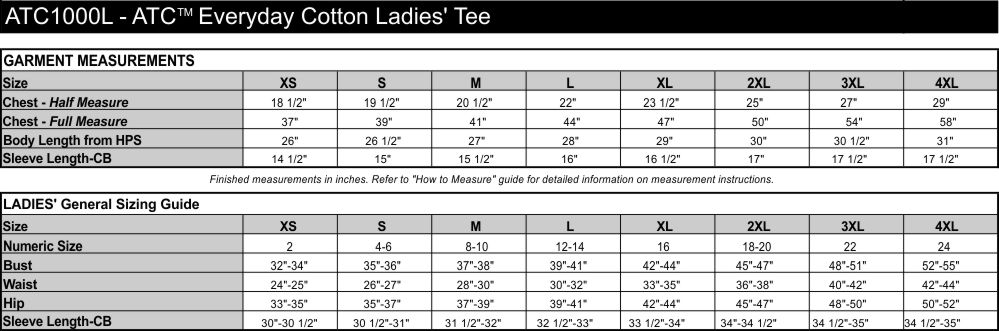 Sizing chart for the ATC100L Everyday Coton Tee