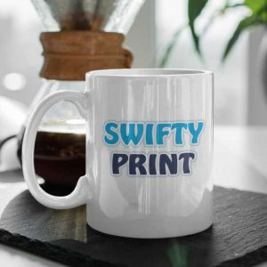 Ceramic mug on table top with swifty print logo printed on one side