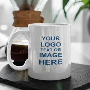 Ceramic printed mug with place holder for text or logo