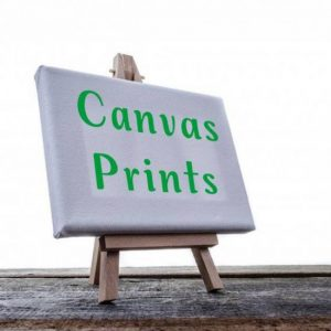 Canvas wrap image displayed on wooden easel