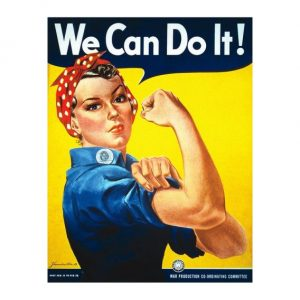 We can do it lady on yellow background