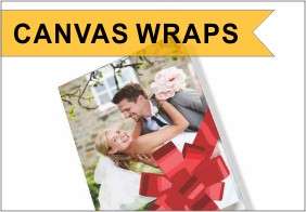 Canvas wrap frame with wedding couple and bow