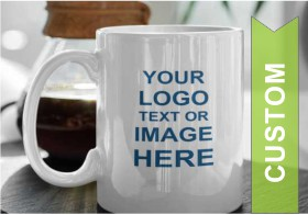 White ceramic mug with text or image here