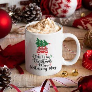 White ceramic mug with custom Christmas print