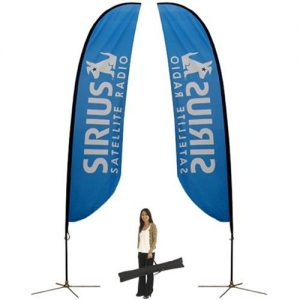 Blue feather flag banner with x base
