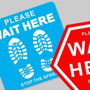 Please wait here social distance floor sticker mix