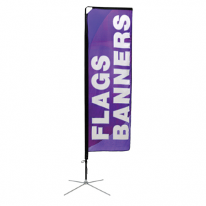 Rectangle shape flag banner with metal x-base