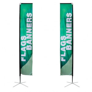 Rectangle banner flag double sided on metal x-base