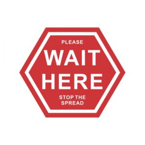 Covid floor sticker wait here in red