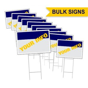 Bulk coplast yard signs with wire H stand