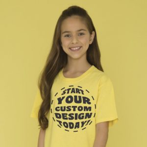 Youth tee in yellow with dtg print