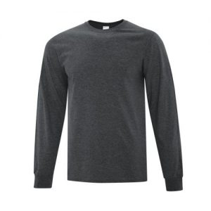 ATC1015 Everyday Cotton Long Sleeve Tee in Dark Heather Grey- White