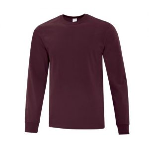 ATC1015 Everyday Cotton Long Sleeve Tee in Maroon- White