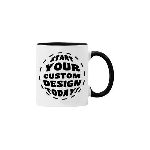 11oz Custom mug with black inner and black handle