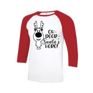 Christmas baseball shirt with ¾ red sleeves and white body printed with 'Oh deer Santa's here' design