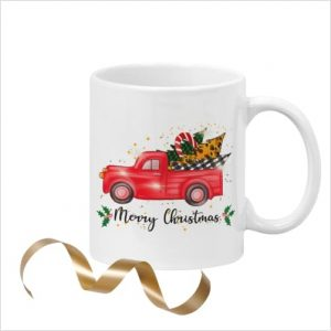 White ceramic 11oz mug with picture of red truck with trees saying 'Merry Christmas'