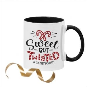 White ceramic 11oz mug with picture of candy canes and wording 'Sweet but Twisted #candycane' with black inner and black handle