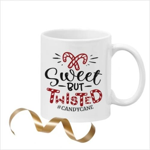 White ceramic 11oz mug with picture of candy canes and wording 'Sweet but Twisted #candycane'