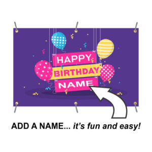Purple Happy Birthday Banner with name